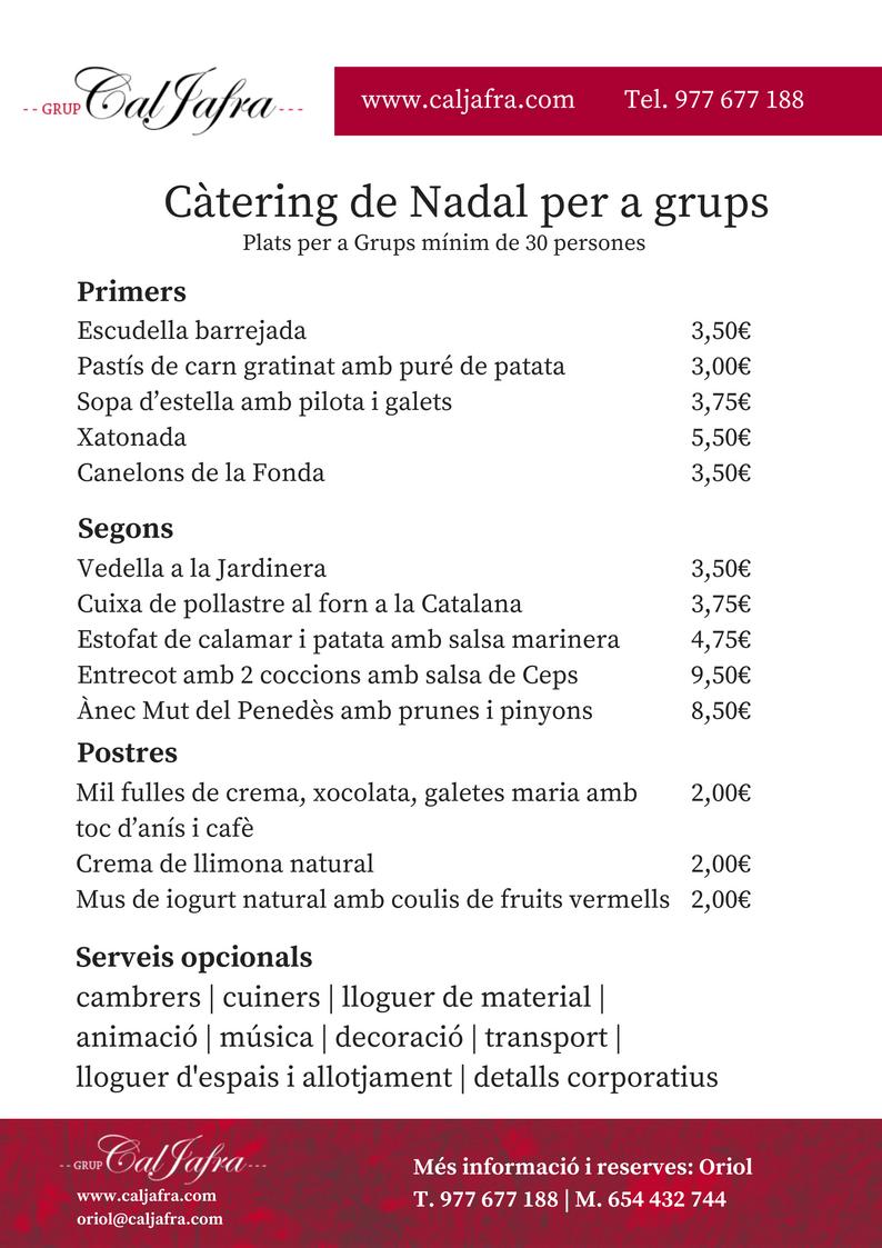 Catering de Nadal 2016 per a grups